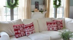 Украшение гостиной с помощью новогодних венков