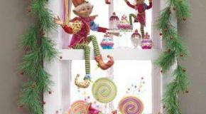 Детское новогоднее украшение окна