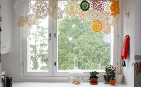Оригинальные ажурные шторы для кухни