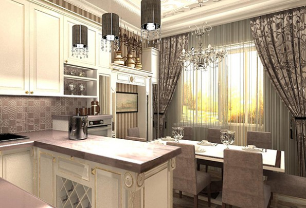 классические шторы в интерьере кухни