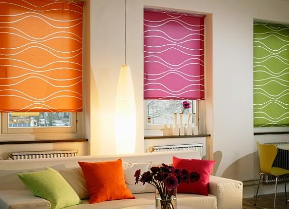 Кассетные шторы в интерьере гостиной