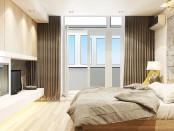 Бежевые шторы в бежевой спальне