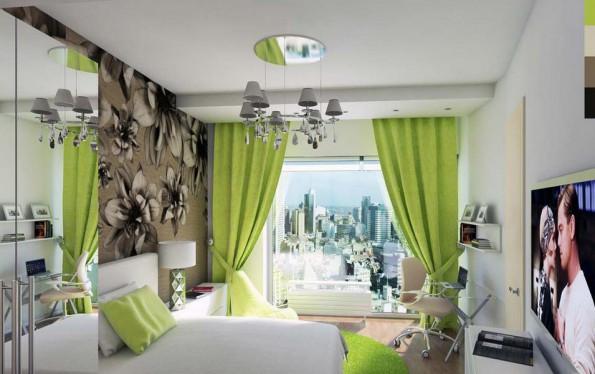 бежевые обои и зеленые шторы