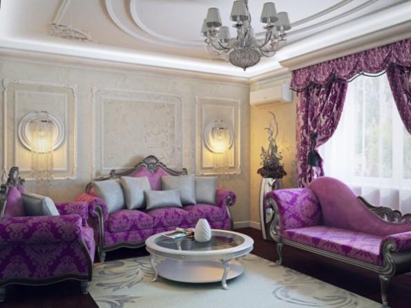 фиолетовые шторы и бежевые обои