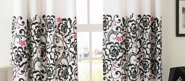 Белые шторы с черным рисунком