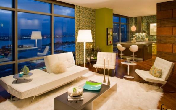 Зеленые шторы в интерьере спальни, кухни, гостиной