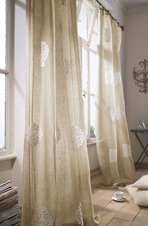 Воздушные льняные шторы спальне