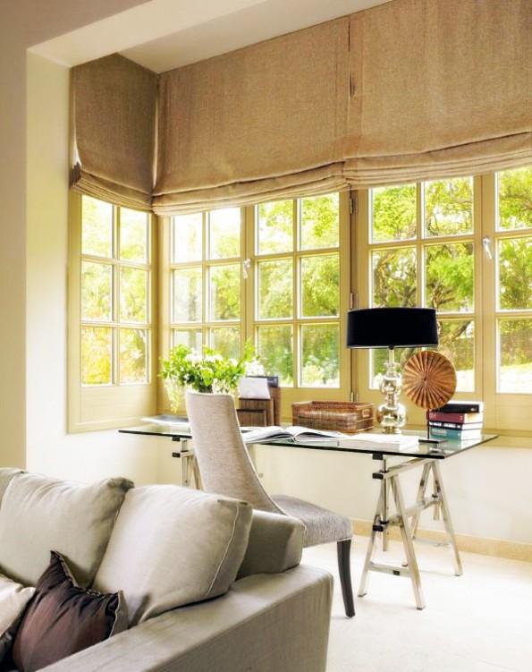 Льняные шторы в стиле мешковины