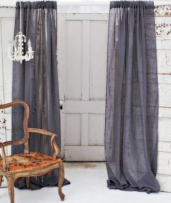 Льняные шторы в темных оттенках