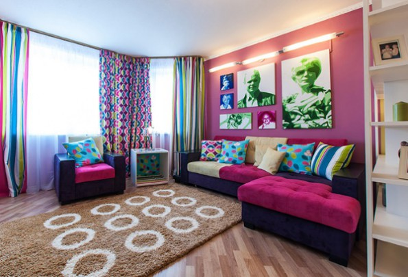Готовые шторы в интерьере гостиной