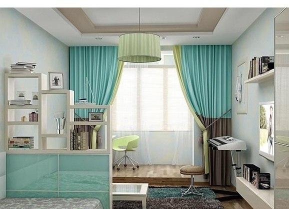 Бирюзовые шторы в интерьере спальни, кухни, гостиной, детской