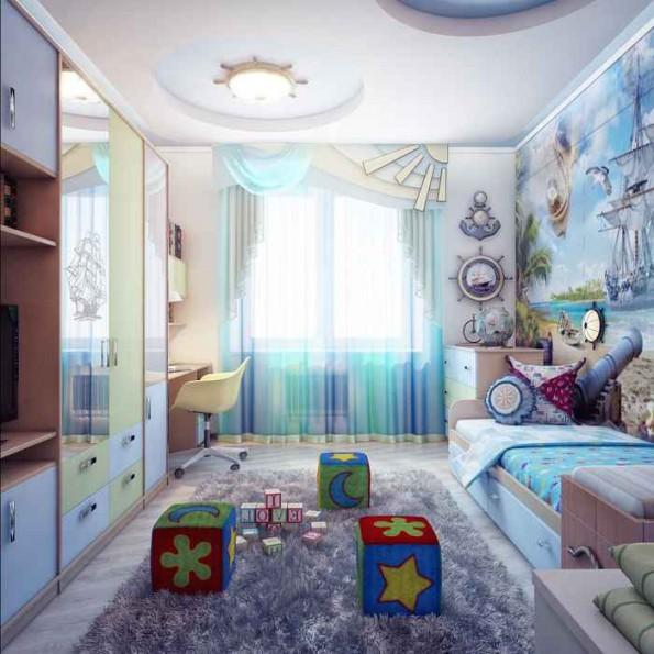 Бирюзовые шторы в интерьере детской