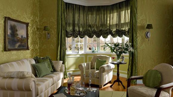 Австрийские шторы в интерьере спальни, кухни, гостиной, детской