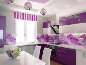 Сиреневые шторы в интерьере кухни