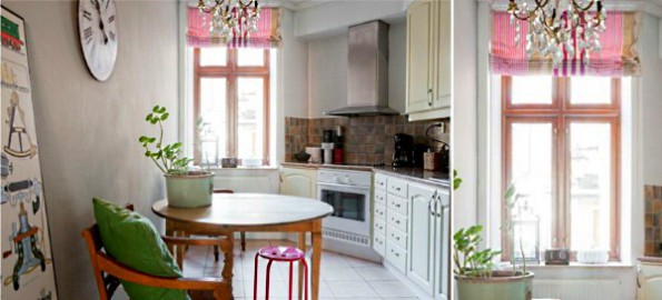 римские и английские шторы в интерьере кухни