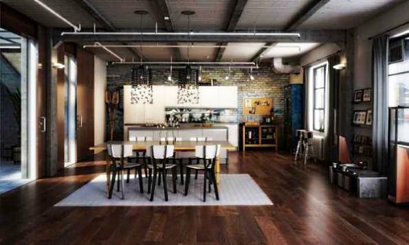 коричневые шторы в интерьере кухни